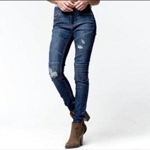 Kendall + Kylie High Rise Distressed Moto Jeans